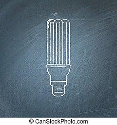 Energy saving fluorescent light bulb icon chalkboard sketch