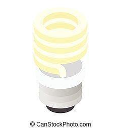 Energy saving fluorescent light bulb icon
