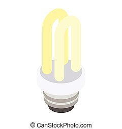 Energy saving fluorescent light bulb icon, isometric 3d style