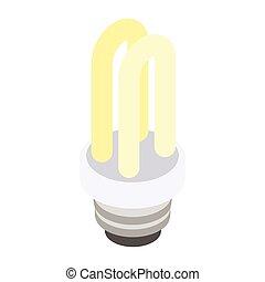Energy saving fluorescent light bulb icon, isometric 3d style