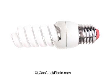 Energy saving fluorescent light bulb isolated
