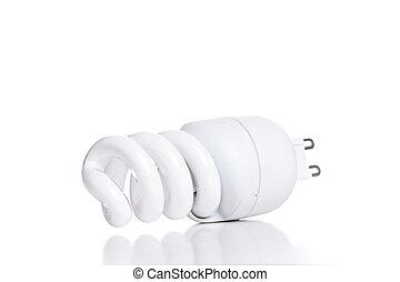 Energy saving fluorescent light bulb, isolated on white background