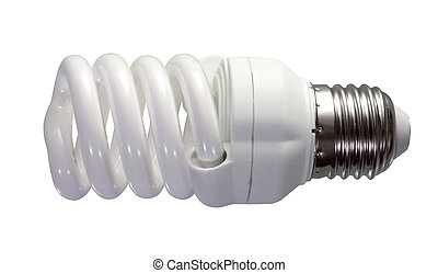 fluorescent light bulb. Isolated on white