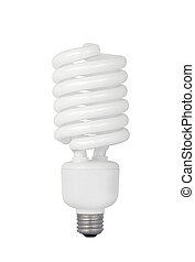 Energy saving fluorescent light bulb on white