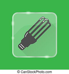 Energy saving fluorescent light bulb silhouette icon on transparent button