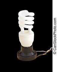 energy saving fluorescent light bulb with wire on black...