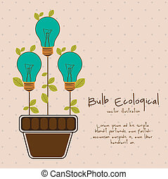 energy saving - Illustration of bulb surrounded by plants...