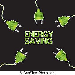 energy saving - green plugs over black background. vector...