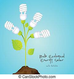 energy saving - Plant producing energy saving bulbs, vector...
