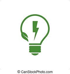 Energy Saving - Stylized green eco energy saving bulb...