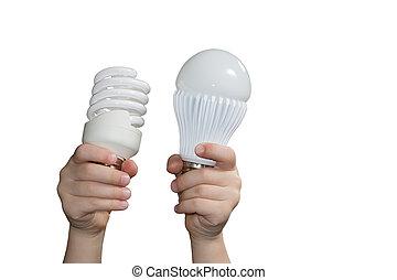 energy-saving, lámparas, en, childrens, manos