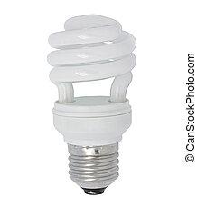 Energy saving lamp - close up the energy saving lamp on a...