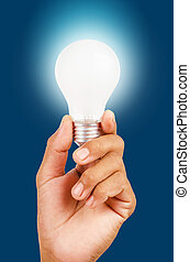 energy saving lamp in hand.