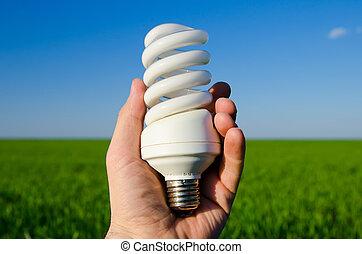 energy saving lamp in hand