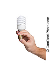 Energy saving lamp in male hand