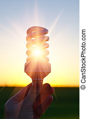 energy saving lamp in sunbeam over sunset