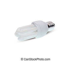 Energy saving lamps on the white background.