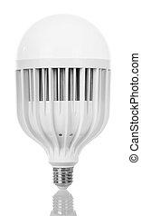 Energy-saving LED light bulb isolated on white.