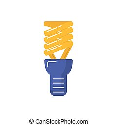 Energy saving light bulb icon in flat style.