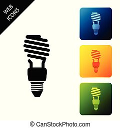 Energy saving light bulb icon isolated on white background. Set icons colorful square buttons. Vector Illustration