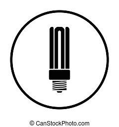 Energy saving light bulb icon. Thin circle design. Vector...