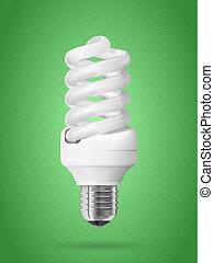 Energy saving light bulb. Realistic vector illustration.