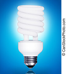 Energy saving light bulb on blue background