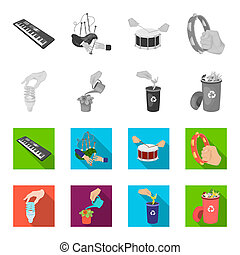 Energy-saving light bulb, watering a houseplant and other web icon in monochrome, flat style. garbage can with waste and garbage icons in set collection.