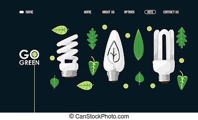 Energy saving light bulb website design, vector illustration. Lamp store landing page template, green electricity. Environment friendly light bulbs and green leaves icons