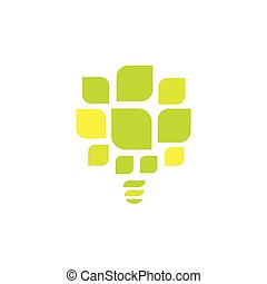 Energy saving lightbulb abstract vector icon. Green leaves of tree logo template. Vector illustration on white background.