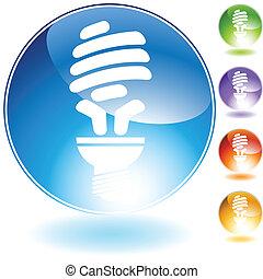energy saving lightbulb crystal icon - energy saving bulb...