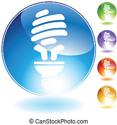 energy saving lightbulb crystal icon - energy saving bulb...