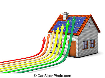 Energy-Saving Measures - House with energy efficiency scale ...