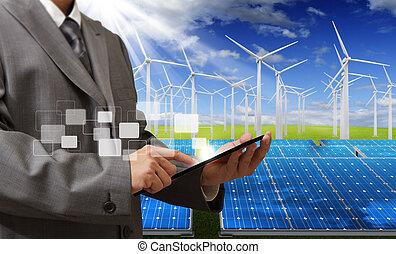 energy saving - engineer checking with tablet computer
