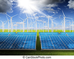 energy saving - Power plant with photovoltaic panels and...