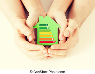 hands holding green paper house - energy saving, real estate...