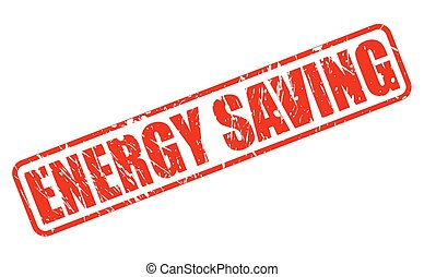 Energy saving red stamp text on white