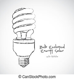 energy saving - cartoon illustration of energy saving bulb,...
