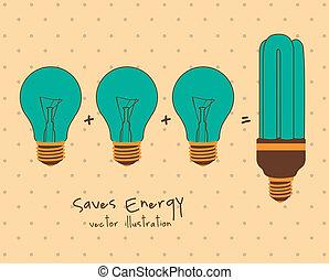 energy saving - Illustration ecological, normal bulbs...
