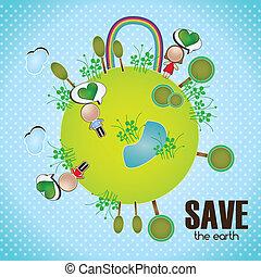 Energy Saving - Planet with peolple rainbow and trees. Save...