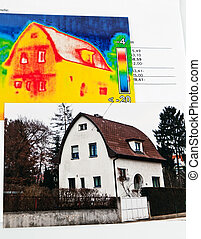 save energy by insulating. house with a thermal imaging camera photographed.