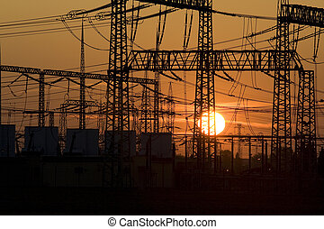 Energy - Solar energy versus electrical energy - sunset and ...