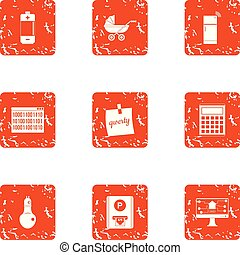 Energy source icons set, grunge style - Energy source icons...