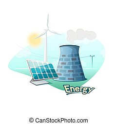 Energy sources concept design, vector illustration