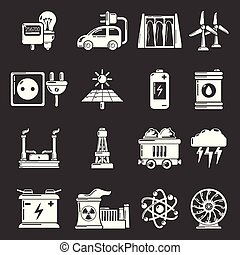 Energy sources icons set grey vector