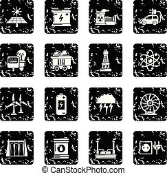 Energy sources icons set grunge vector