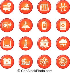 Energy sources icons set red vector