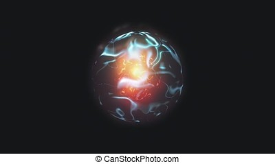 Energy sphere with a core and a bunch of energy on a black background