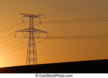 energy - electric pylon on sunset background