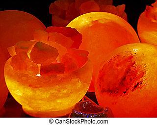 Energy stones, polished and illuminated